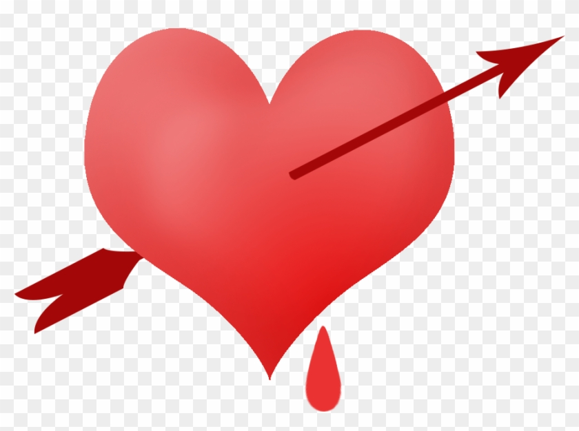 Piinched Heart With Blood Drop And Arrow - Hearts And Arrows