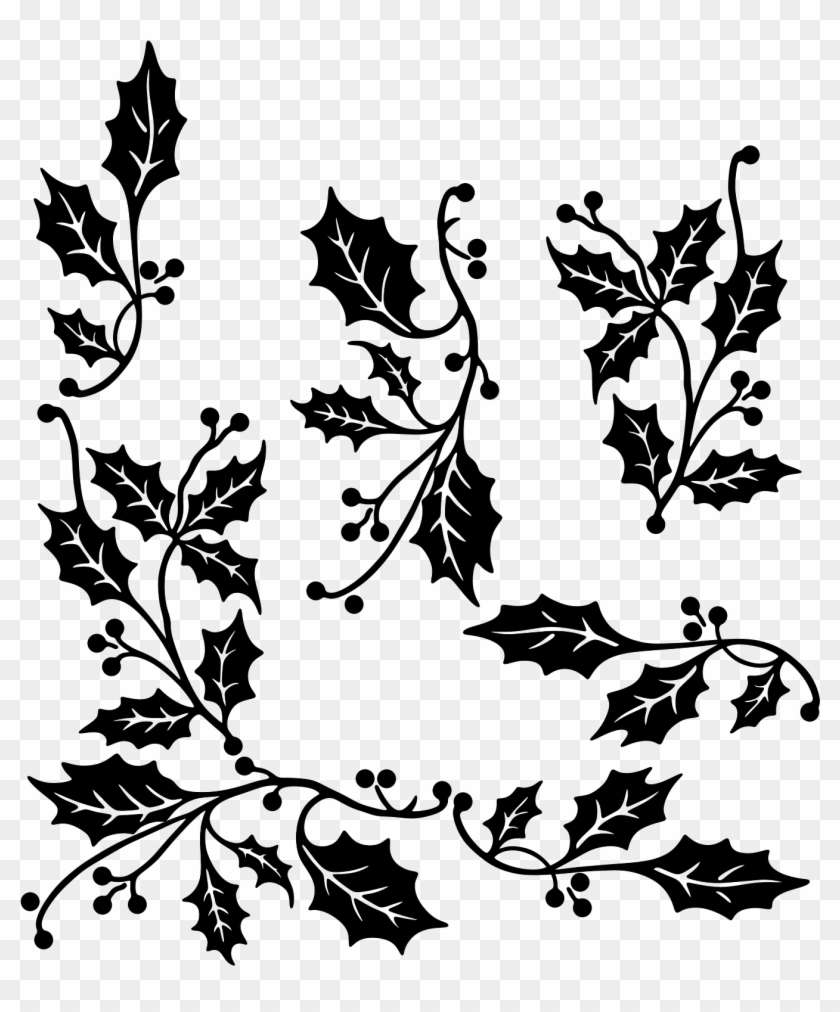 Christmas Images Clipart Black And White.Holly Christmas Clipart Black And White Hd Png Download