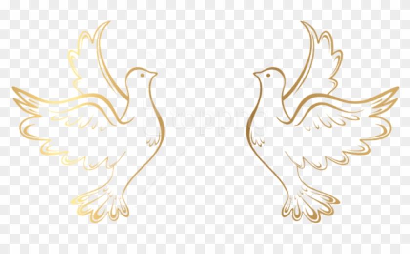 Free Png Download Gold Doves Decoration Transparent