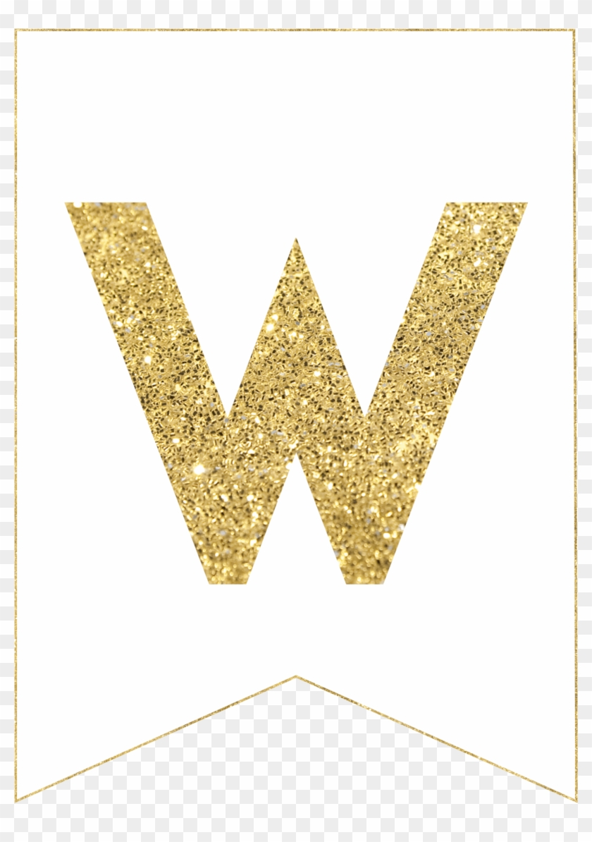 photo about Printable Banner titled 1736 X 2431 1 - Gold Cost-free Printable Banner Letters W, High definition Png