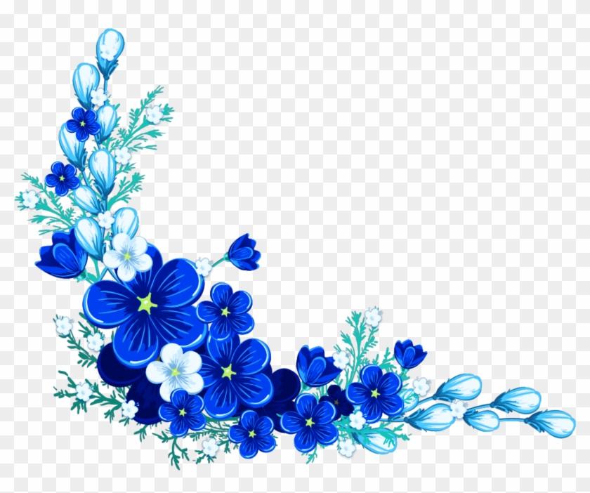 Blue Flower Leaves Border Sticker By Marras Royal Blue