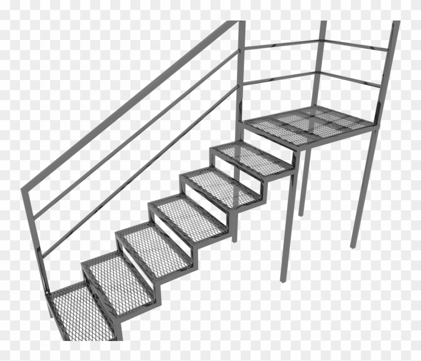 Metal Stairs 3d Model, HD Png Download - 842x640 (#1790099