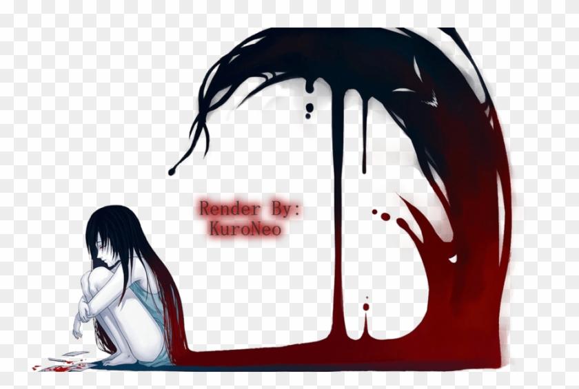 Depressed Drawing Anime Anime Girl Crying Blood Hd Png Download 900x563 2336621 Pinpng