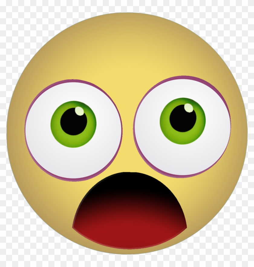 Graphic Emoticon Smiley Scared Shocked Yellow