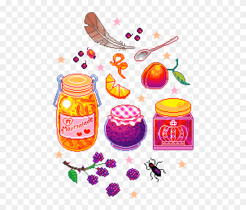 Pixel Art Kawaii Food