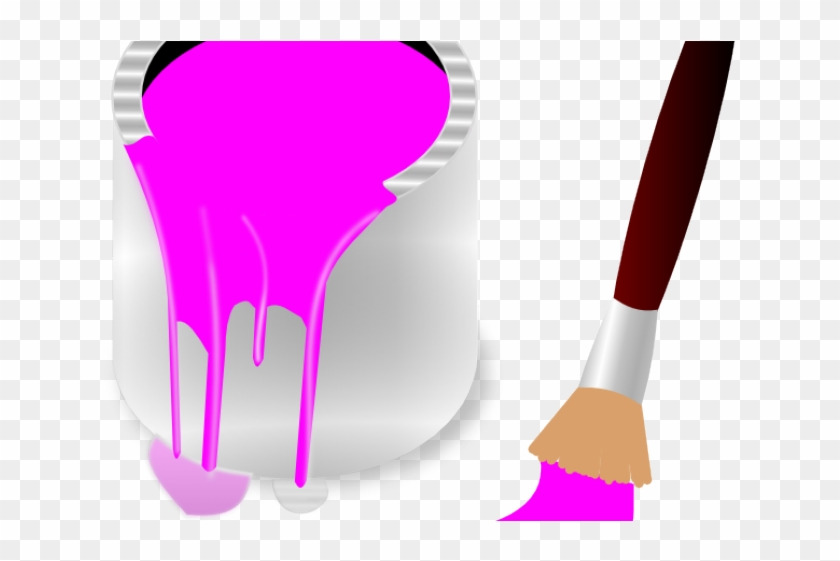 Neon Clipart Paint Drip - Paint Brush Clip Art Pink, HD Png