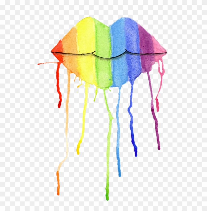 7777d100b973f Ftestickers Drip Lips Watercolor Colorful Rainbow Paint - Lips, HD ...