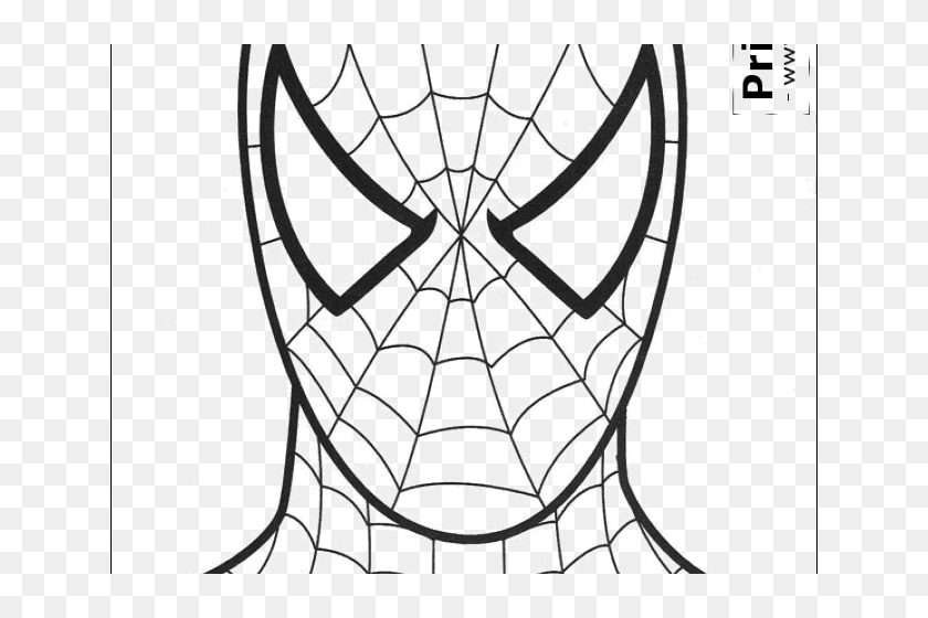 Drawn Spiderman Mask - Spiderman Head Template For Cake ...