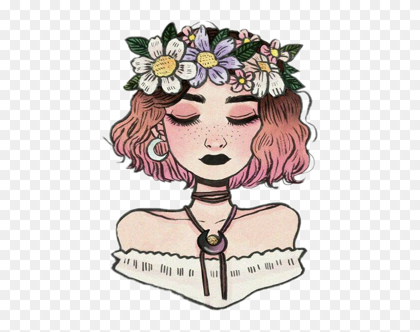 Aesthetic Tumblr Girl Drawing Hd Png Download 432x584 3054152