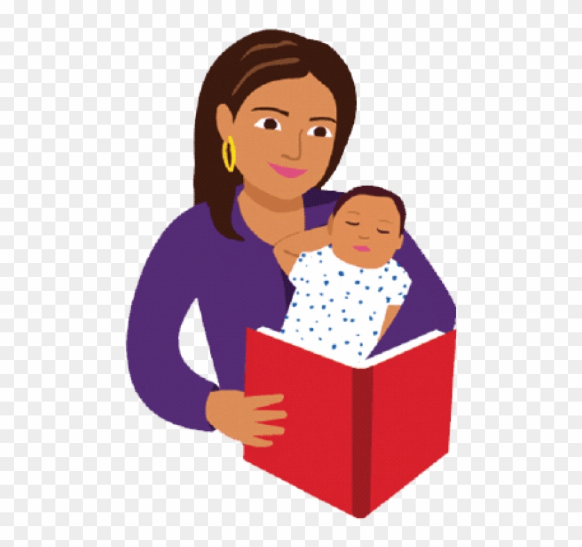 Free Png Download Mom And Baby Reading Book Cartoon Read