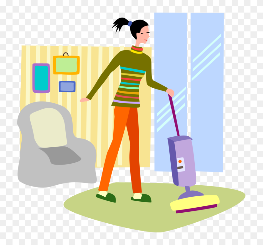 Vector Illustration Of Household Chores With Vacuum Clipart Vacuuming The Floor Hd Png Download 729x700 3583566 Pinpng