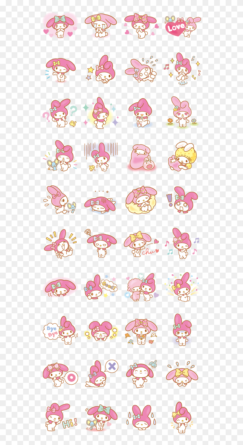My Melody By Sanrio - My Melody Line Stickers, HD Png