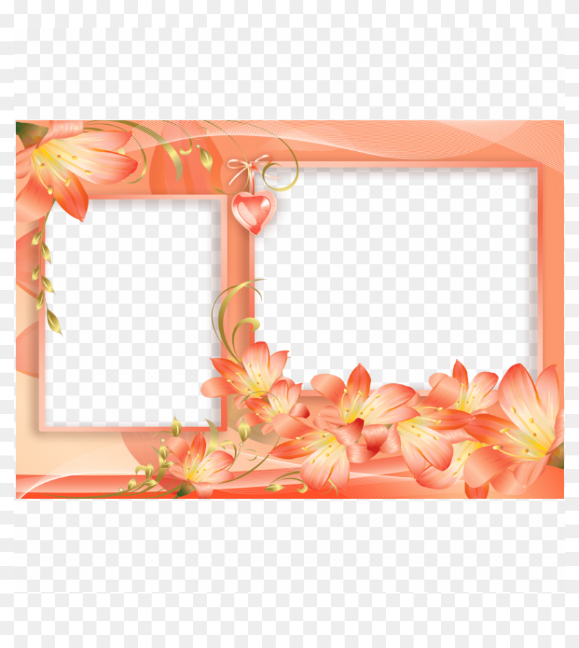 Free Png Orange And Yellow Png Flowers Frame With Heart - 2