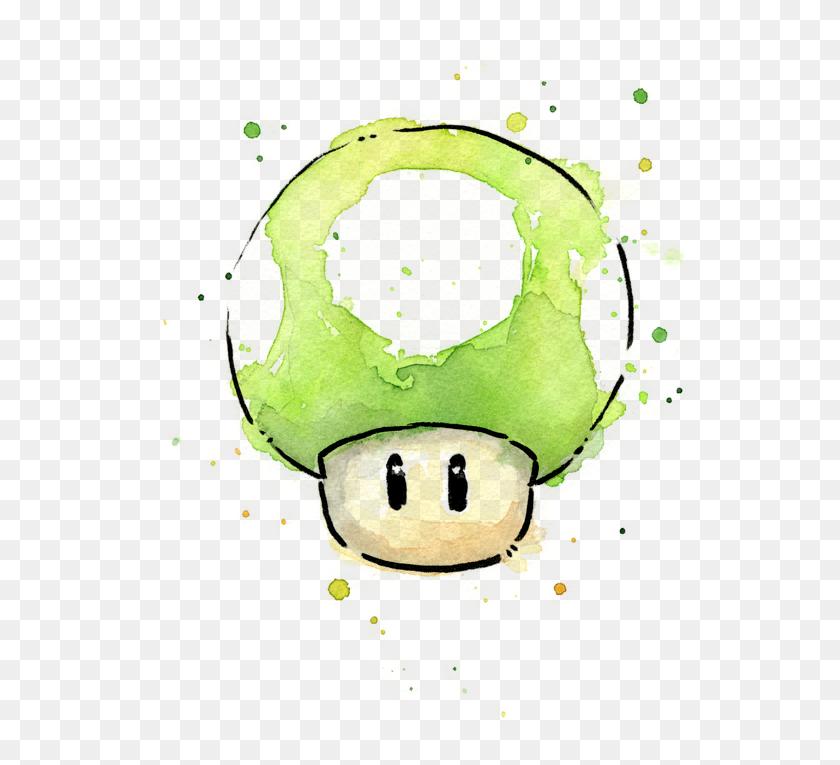 1up Mushroom By Olga Shvartsur Hongo De Mario Bros Watercolor