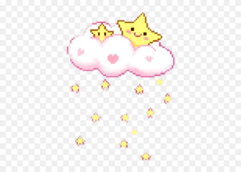 Pixel Game Cute Star Cloud Rain Pink Yellow Cute