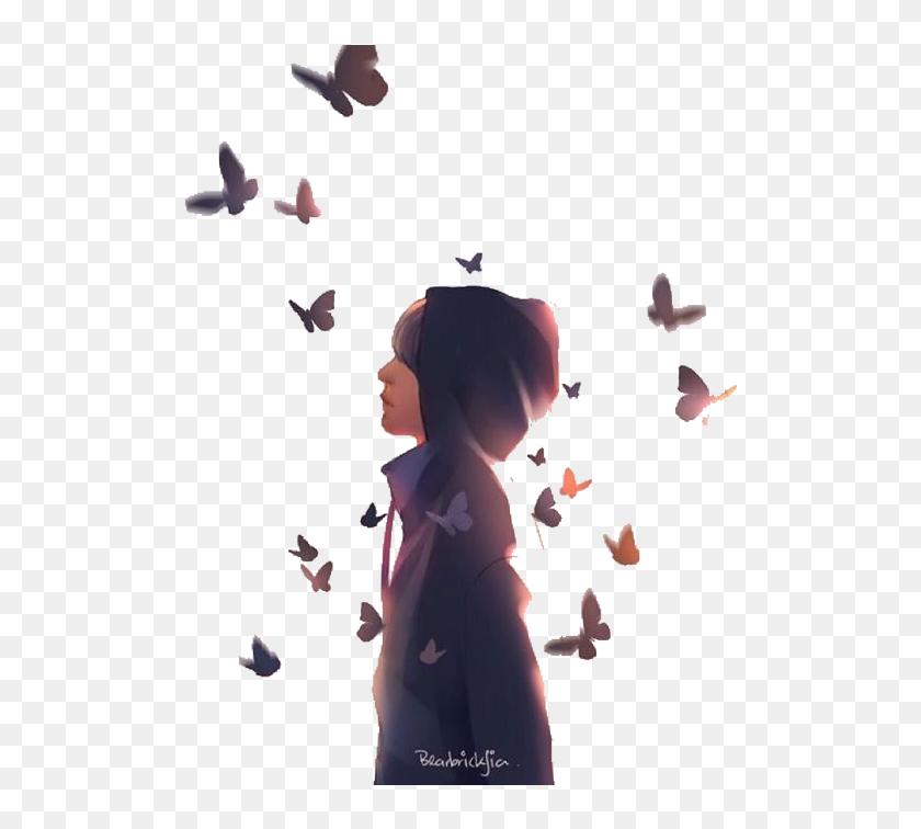529 5290237 drawing bts butterfly bts butterfly fanart hd png