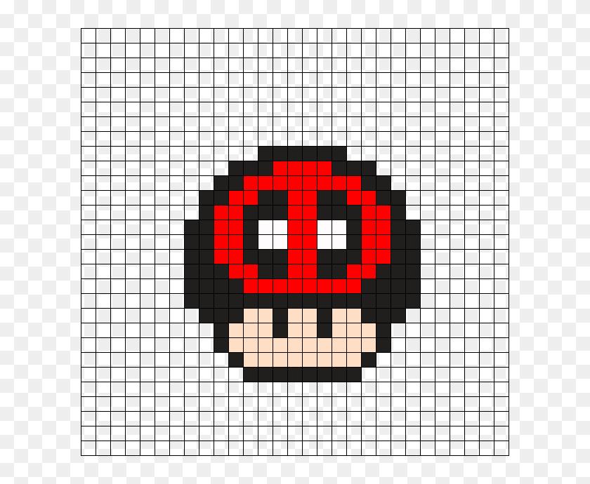 Deadpool Mushroom Perler Bead Pattern Cuadricula Setas Mario