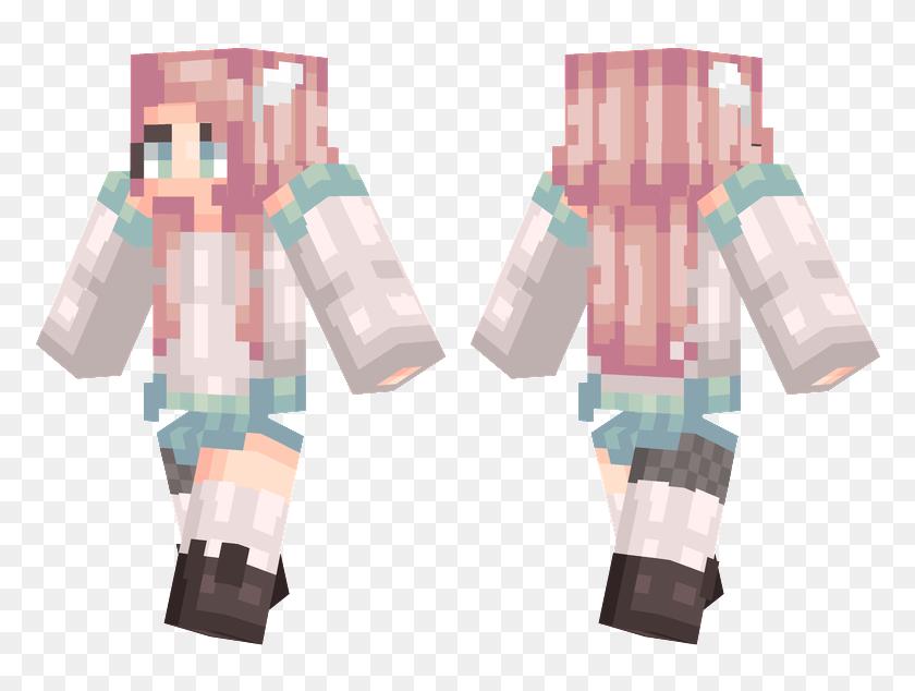 Pink Hair Minecraft Girl Skins Hair Hd Png Download 804x576 6219602 Pinpng