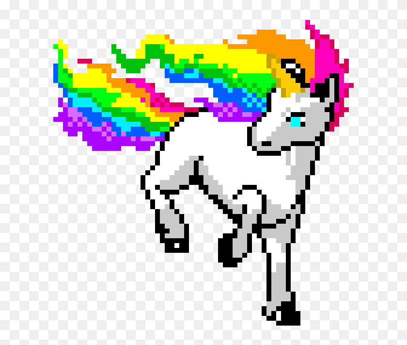 Rainbow Unicorn Dessin Pixel Art Licorne Hd Png Download