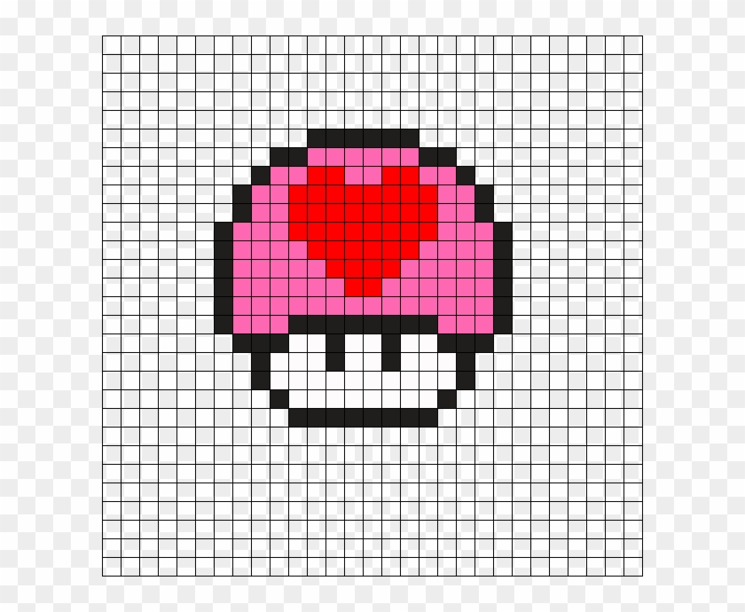Heart Mushroom Perler Bead Pattern Pixel Art Champignon Mario