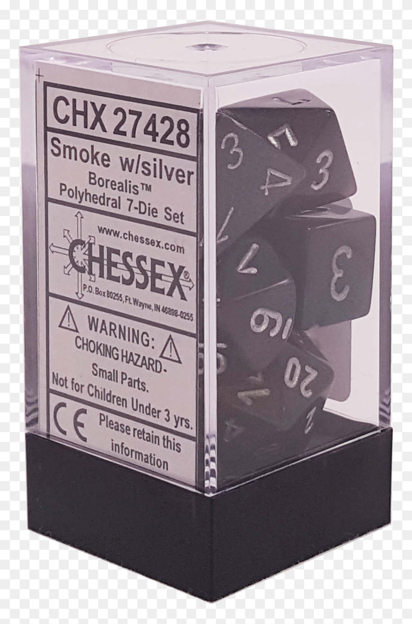 Chessex Polyhedral 7 Die Smoke w// Silver Numbers Dice CHX 27428