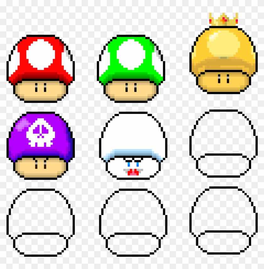 Super Mario Mushrooms Pixel Art Circle Hd Png Download