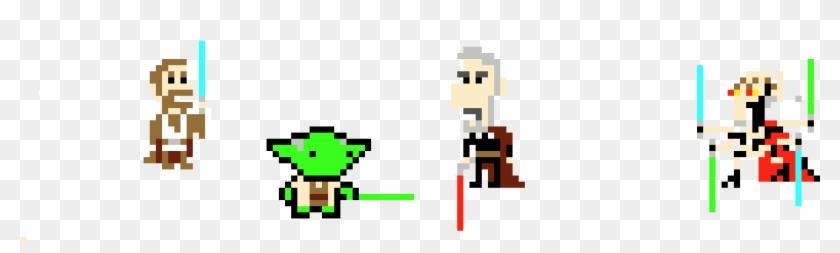 Yoda Obi Wan Vs Dooku Grievous 8 Bit Star Wars Hd Png
